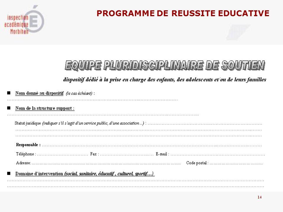PROGRAMME DE REUSSITE EDUCATIVE 14
