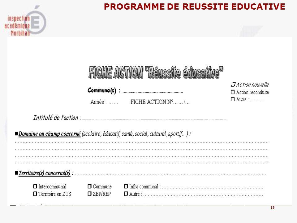 PROGRAMME DE REUSSITE EDUCATIVE 15