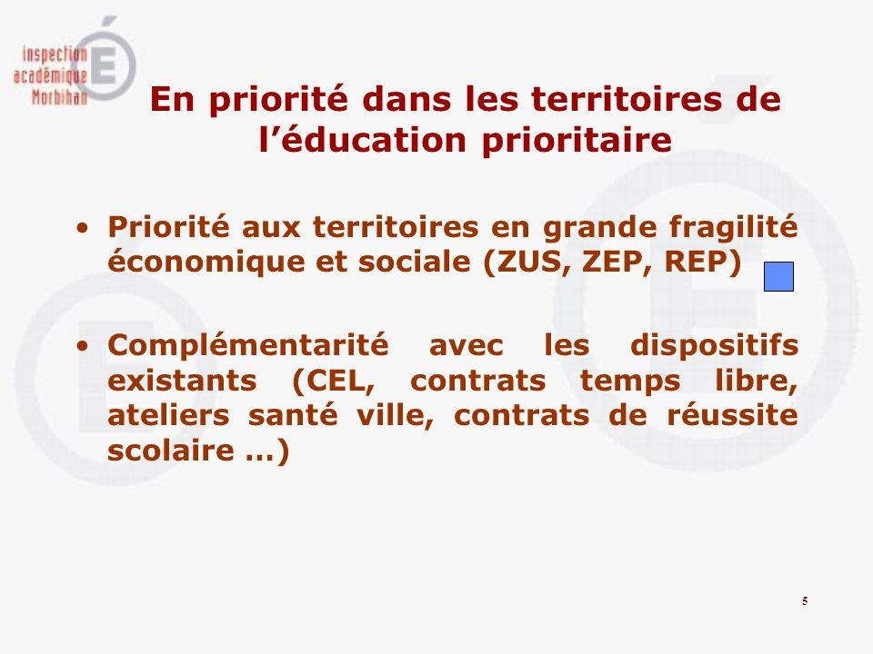 En priorité dans les territoires de léducation prioritaire Priorité aux territoires en grande fragilité économique et sociale (ZUS, ZEP, REP) Compléme