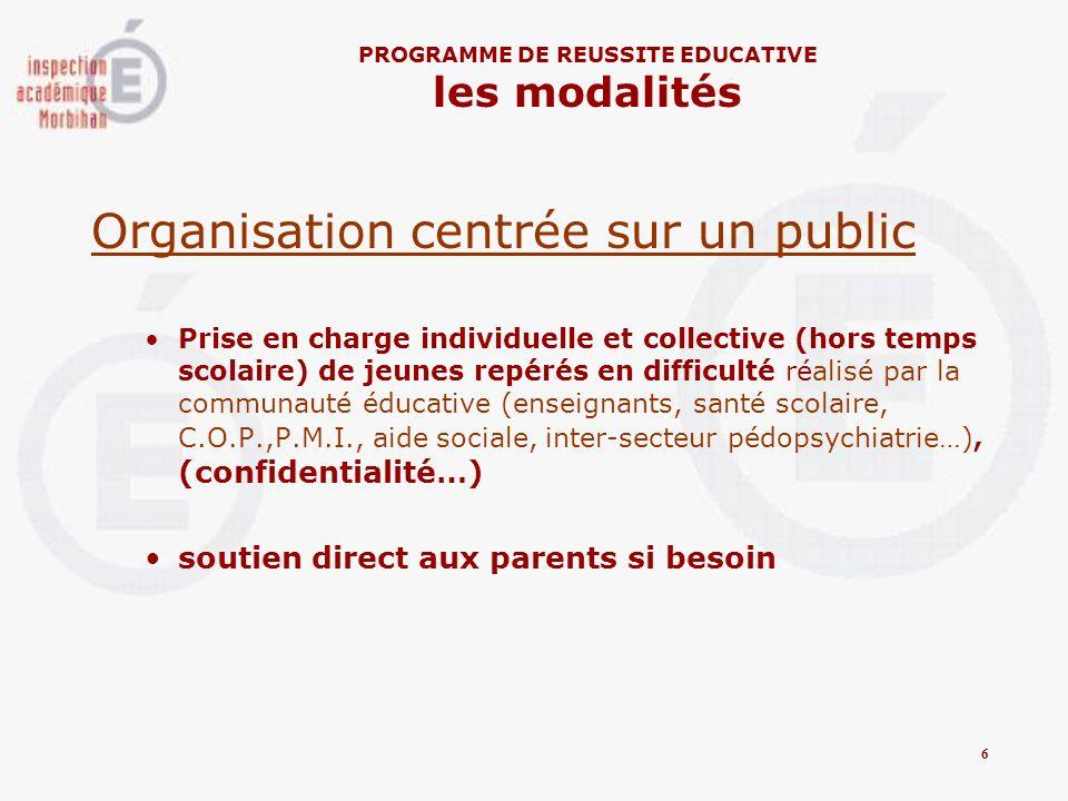 Organisation centrée sur un public Prise en charge individuelle et collective (hors temps scolaire) de jeunes repérés en difficulté réalisé par la com