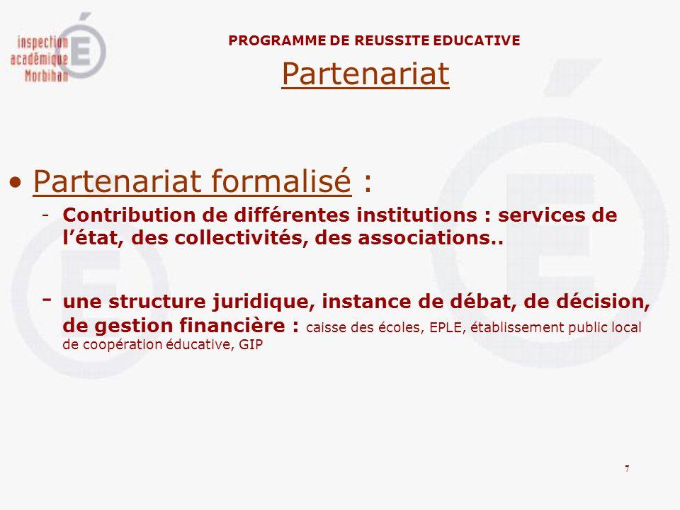 Partenariat formalisé : -Contribution de différentes institutions : services de létat, des collectivités, des associations.. - une structure juridique
