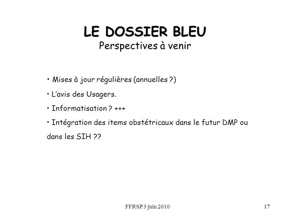 FFRSP 3 juin 201017 LE DOSSIER BLEU Perspectives à venir Mises à jour régulières (annuelles ?) Lavis des Usagers. Informatisation ? +++ Intégration de