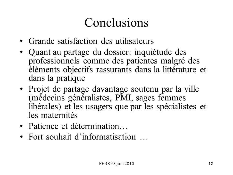 FFRSP 3 juin 201018 Conclusions Grande satisfaction des utilisateurs Quant au partage du dossier: inquiétude des professionnels comme des patientes ma