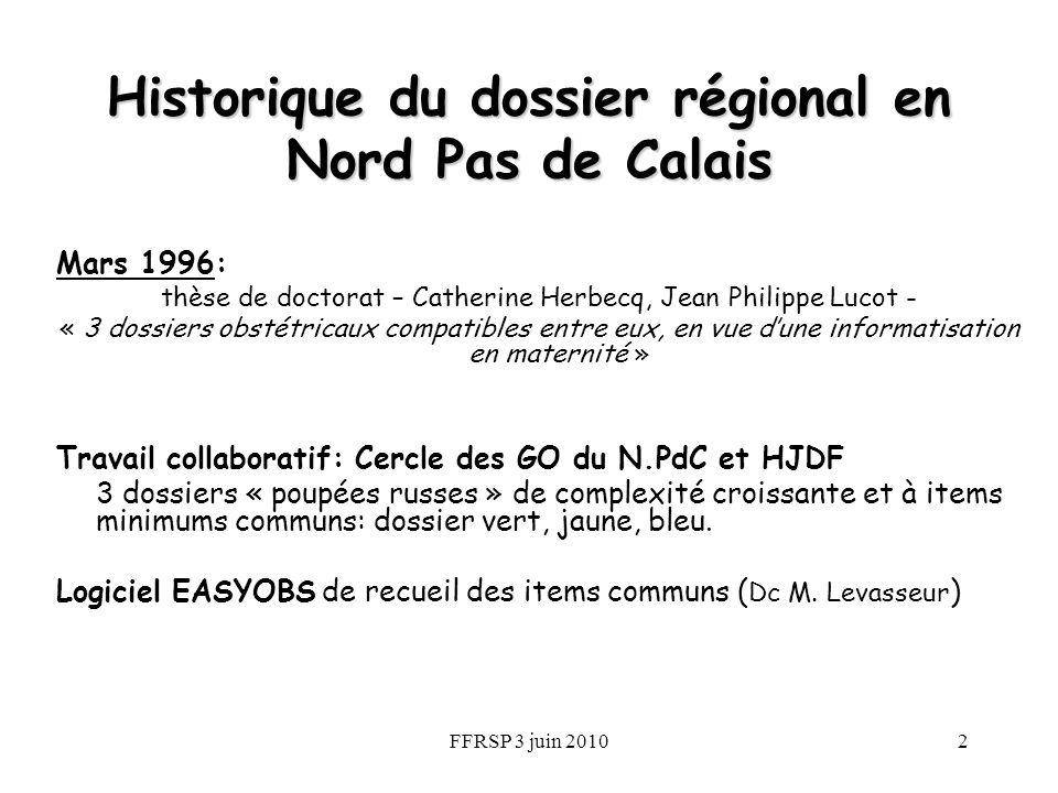FFRSP 3 juin 20102 Historique du dossier régional en Nord Pas de Calais Mars 1996: thèse de doctorat – Catherine Herbecq, Jean Philippe Lucot - « 3 do