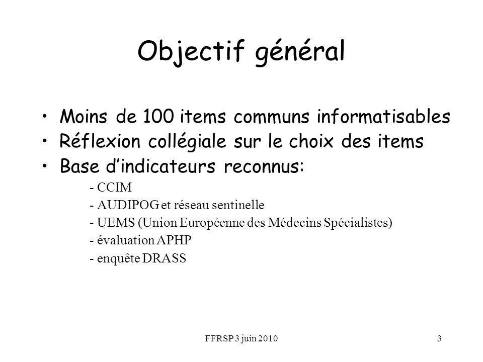 FFRSP 3 juin 20103 Objectif général Moins de 100 items communs informatisables Réflexion collégiale sur le choix des items Base dindicateurs reconnus: