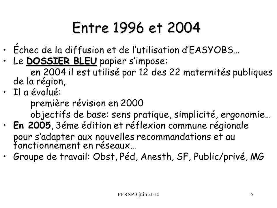 FFRSP 3 juin 20105 Entre 1996 et 2004 Échec de la diffusion et de lutilisation dEASYOBS… DOSSIER BLEULe DOSSIER BLEU papier simpose: en 2004 il est ut
