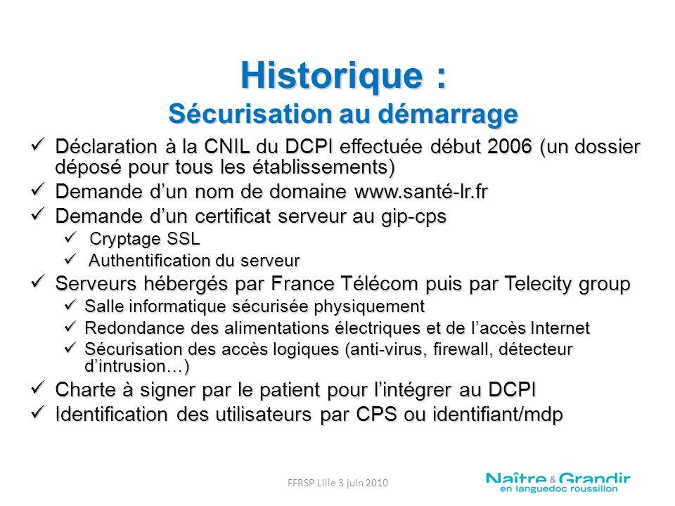 Historique : Sécurisation au démarrage Déclaration à la CNIL du DCPI effectuée début 2006 (un dossier déposé pour tous les établissements) Déclaration à la CNIL du DCPI effectuée début 2006 (un dossier déposé pour tous les établissements) Demande dun nom de domaine www.santé-lr.fr Demande dun nom de domaine www.santé-lr.fr Demande dun certificat serveur au gip-cps Demande dun certificat serveur au gip-cps Cryptage SSL Cryptage SSL Authentification du serveur Authentification du serveur Serveurs hébergés par France Télécom puis par Telecity group Serveurs hébergés par France Télécom puis par Telecity group Salle informatique sécurisée physiquement Salle informatique sécurisée physiquement Redondance des alimentations électriques et de laccès Internet Redondance des alimentations électriques et de laccès Internet Sécurisation des accès logiques (anti-virus, firewall, détecteur dintrusion…) Sécurisation des accès logiques (anti-virus, firewall, détecteur dintrusion…) Charte à signer par le patient pour lintégrer au DCPI Charte à signer par le patient pour lintégrer au DCPI Identification des utilisateurs par CPS ou identifiant/mdp Identification des utilisateurs par CPS ou identifiant/mdp FFRSP Lille 3 juin 2010