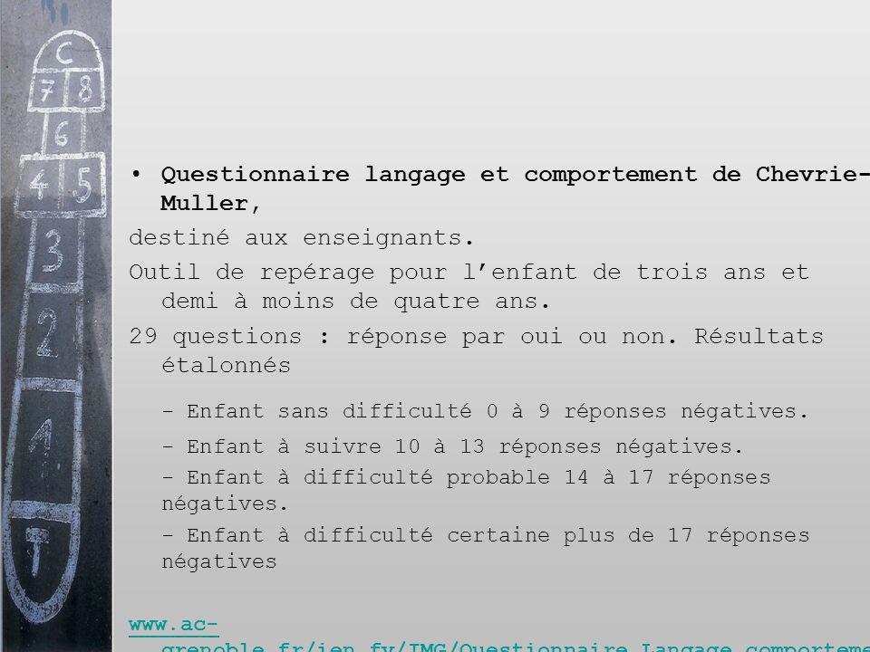 Questionnaire langage et comportement de Chevrie- Muller, destiné aux enseignants. Outil de repérage pour lenfant de trois ans et demi à moins de quat