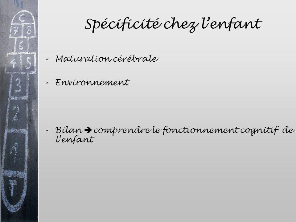 Spécificité chez lenfant Maturation cérébrale Environnement Bilan comprendre le fonctionnement cognitif de lenfant