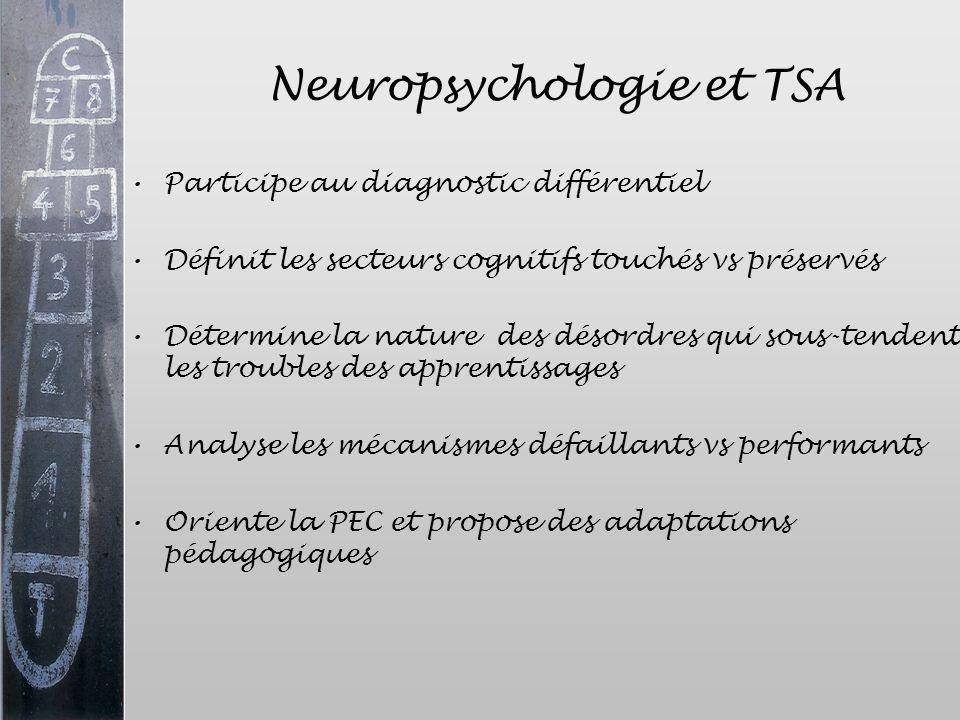 Neuropsychologie et TSA Participe au diagnostic différentiel Définit les secteurs cognitifs touchés vs préservés Détermine la nature des désordres qui