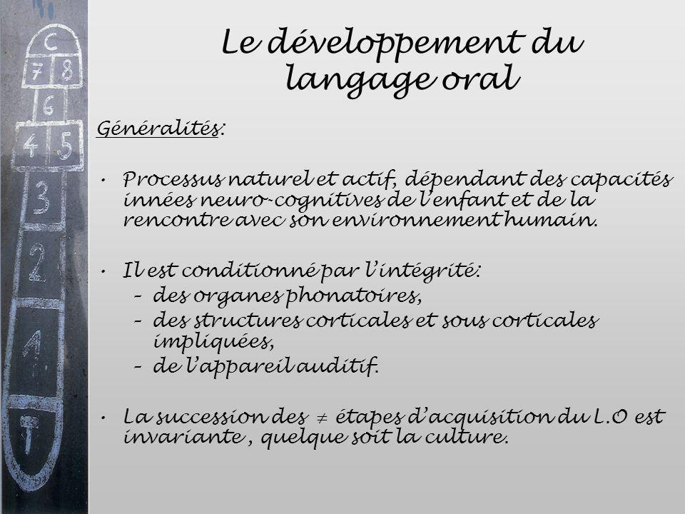 Le développement du langage oral Généralités: Processus naturel et actif, dépendant des capacités innées neuro-cognitives de lenfant et de la rencontr