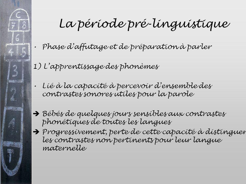 La période pré-linguistique Phase daffutage et de préparation à parler 1) Lapprentissage des phonèmes Lié à la capacité à percevoir densemble des cont