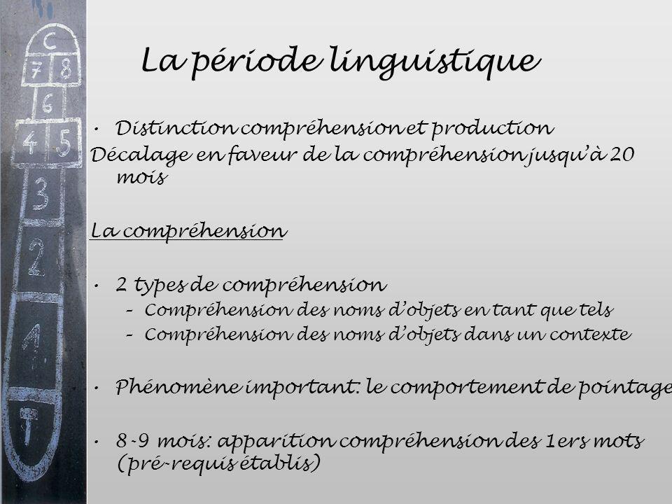 La période linguistique Distinction compréhension et production Décalage en faveur de la compréhension jusquà 20 mois La compréhension 2 types de comp
