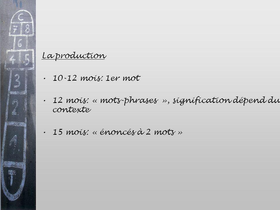 La production 10-12 mois: 1er mot 12 mois: « mots-phrases », signification dépend du contexte 15 mois: « énoncés à 2 mots »