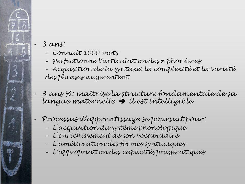 3 ans: –Connaît 1000 mots –Perfectionne larticulation des phonèmes –Acquisition de la syntaxe: la complexité et la variété des phrases augmentent 3 an