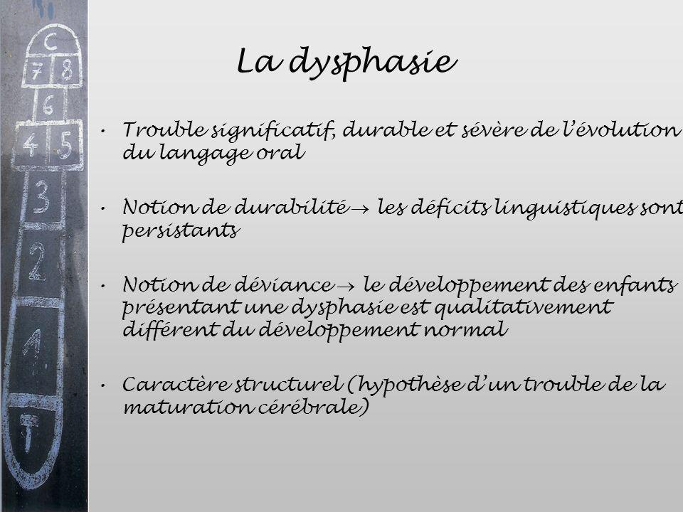La dysphasie Trouble significatif, durable et sévère de lévolution du langage oral Notion de durabilité les déficits linguistiques sont persistants No