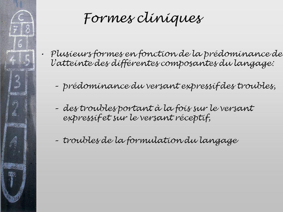 Formes cliniques Plusieurs formes en fonction de la prédominance de latteinte des différentes composantes du langage: –prédominance du versant express