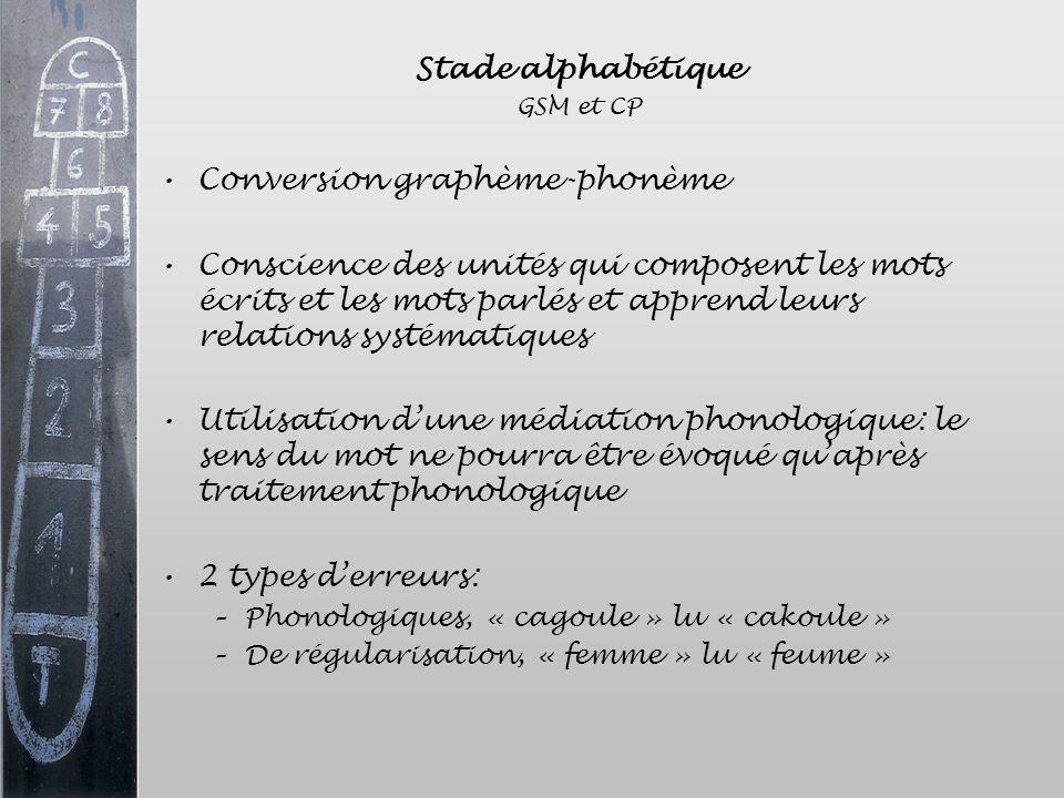 Stade alphabétique GSM et CP Conversion graphème-phonème Conscience des unités qui composent les mots écrits et les mots parlés et apprend leurs relat
