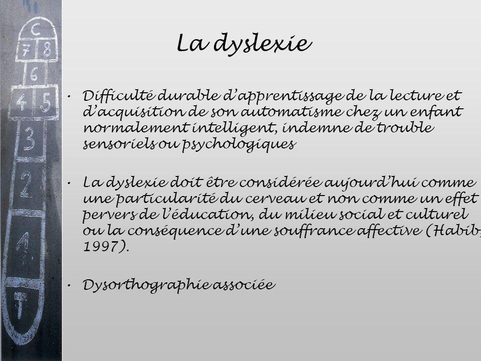 La dyslexie Difficulté durable dapprentissage de la lecture et dacquisition de son automatisme chez un enfant normalement intelligent, indemne de trou