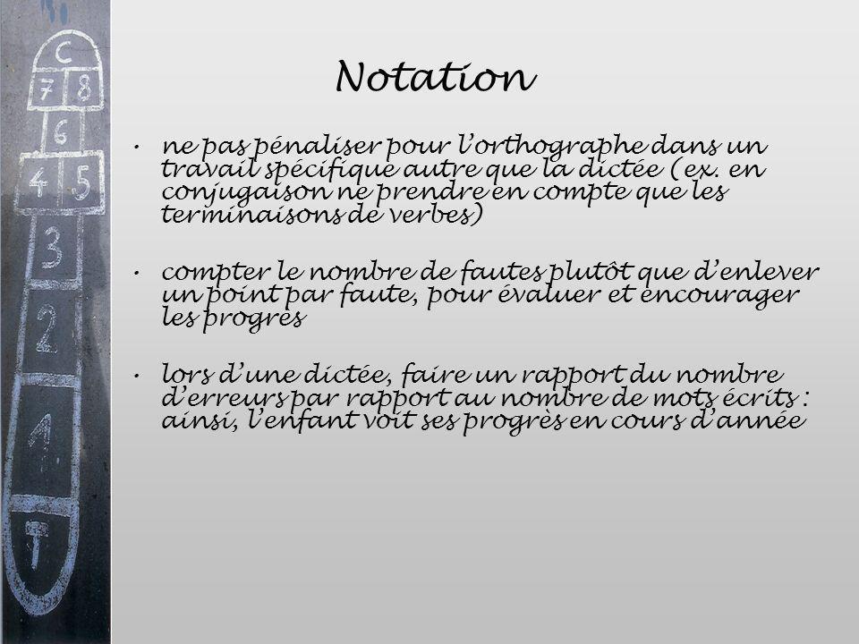 Notation ne pas pénaliser pour lorthographe dans un travail spécifique autre que la dictée (ex. en conjugaison ne prendre en compte que les terminaiso