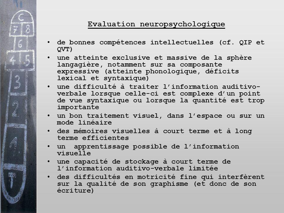 Evaluation neuropsychologique de bonnes compétences intellectuelles (cf. QIP et QVT) une atteinte exclusive et massive de la sphère langagière, notamm
