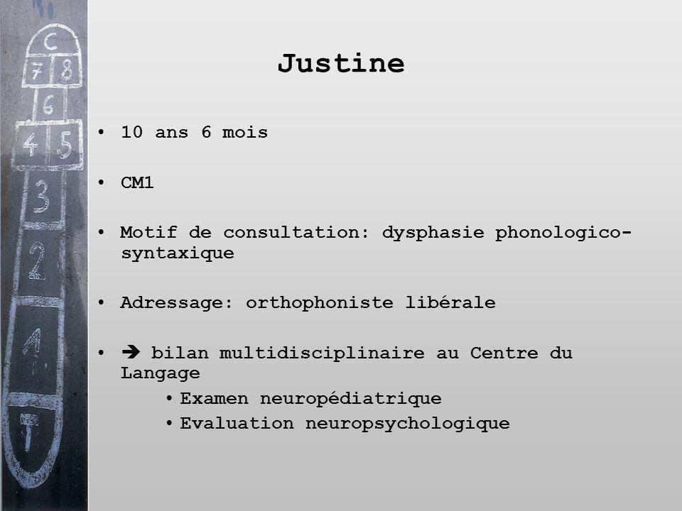 Justine 10 ans 6 mois CM1 Motif de consultation: dysphasie phonologico- syntaxique Adressage: orthophoniste libérale bilan multidisciplinaire au Centr