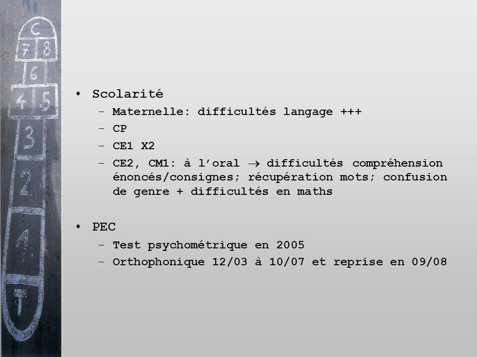 Scolarité –Maternelle: difficultés langage +++ –CP –CE1 X2 –CE2, CM1: à loral difficultés compréhension énoncés/consignes; récupération mots; confusio
