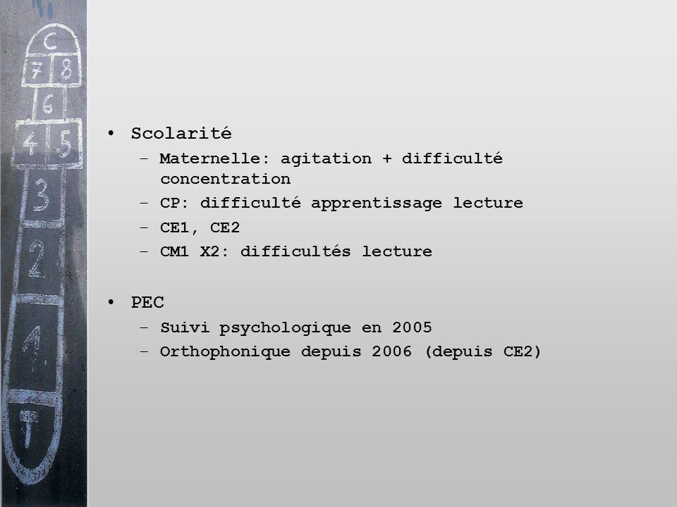 Scolarité –Maternelle: agitation + difficulté concentration –CP: difficulté apprentissage lecture –CE1, CE2 –CM1 X2: difficultés lecture PEC –Suivi ps