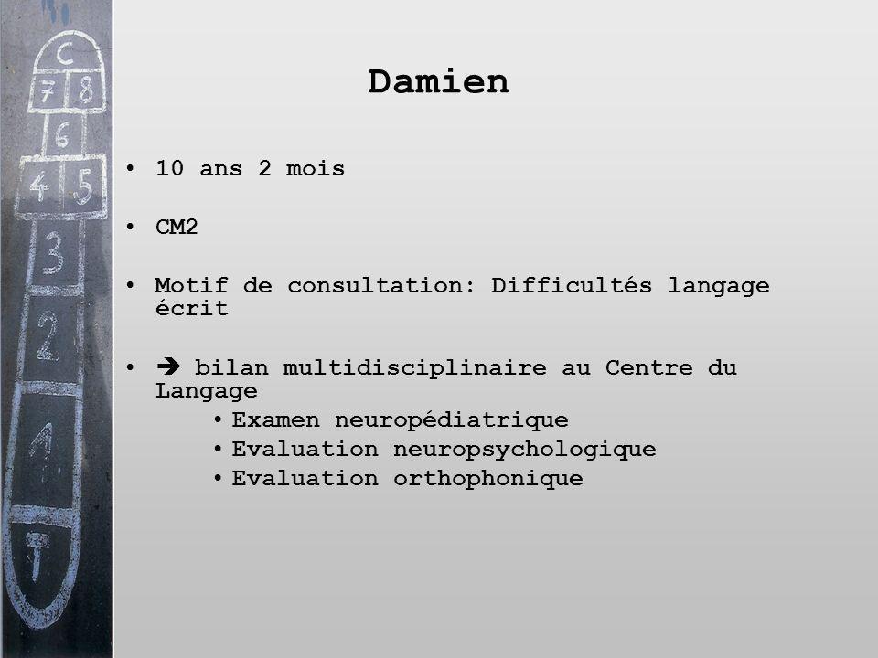 Damien 10 ans 2 mois CM2 Motif de consultation: Difficultés langage écrit bilan multidisciplinaire au Centre du Langage Examen neuropédiatrique Evalua