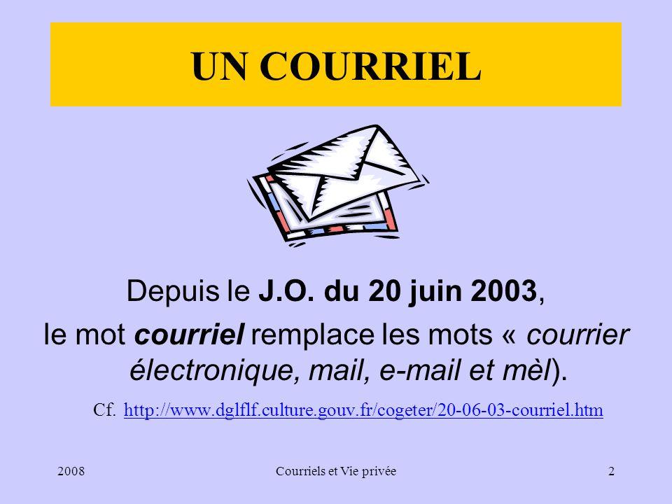 2008Courriels et Vie privée2 UN COURRIEL Depuis le J.O.
