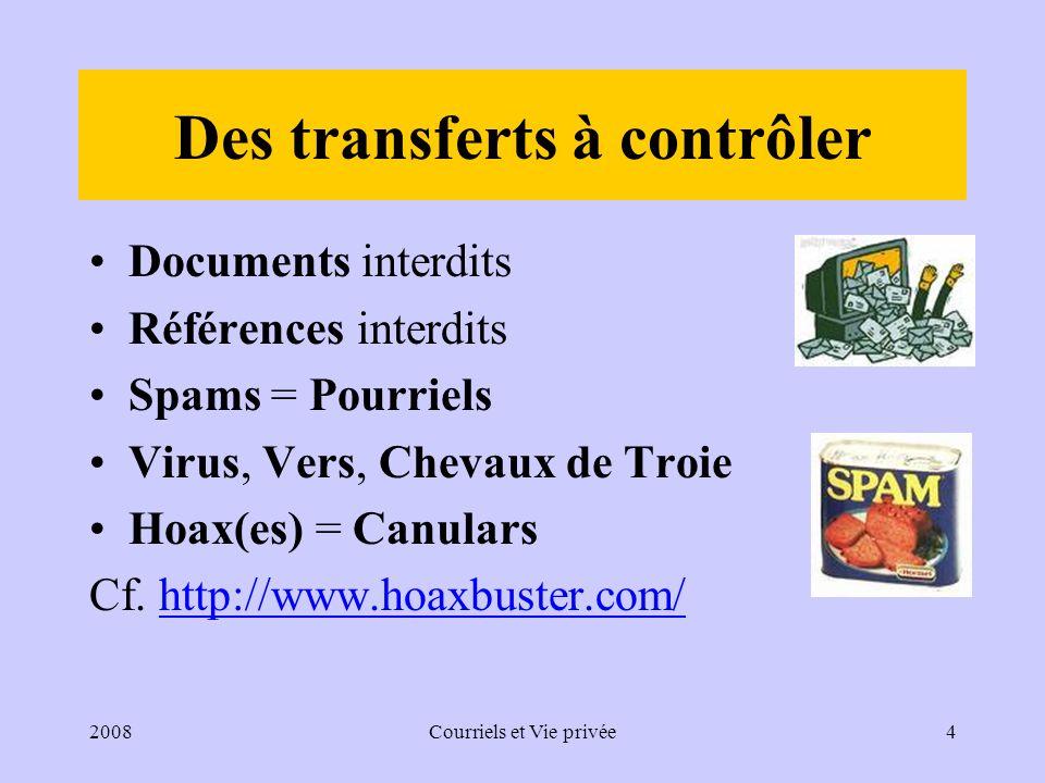 2008Courriels et Vie privée5 Un courriel, comme toute correspondance, est protégé Le secret des correspondances (loi du 10/07/1991 et art.432-9 alinéa 2 du CP) est applicable aux courriels.