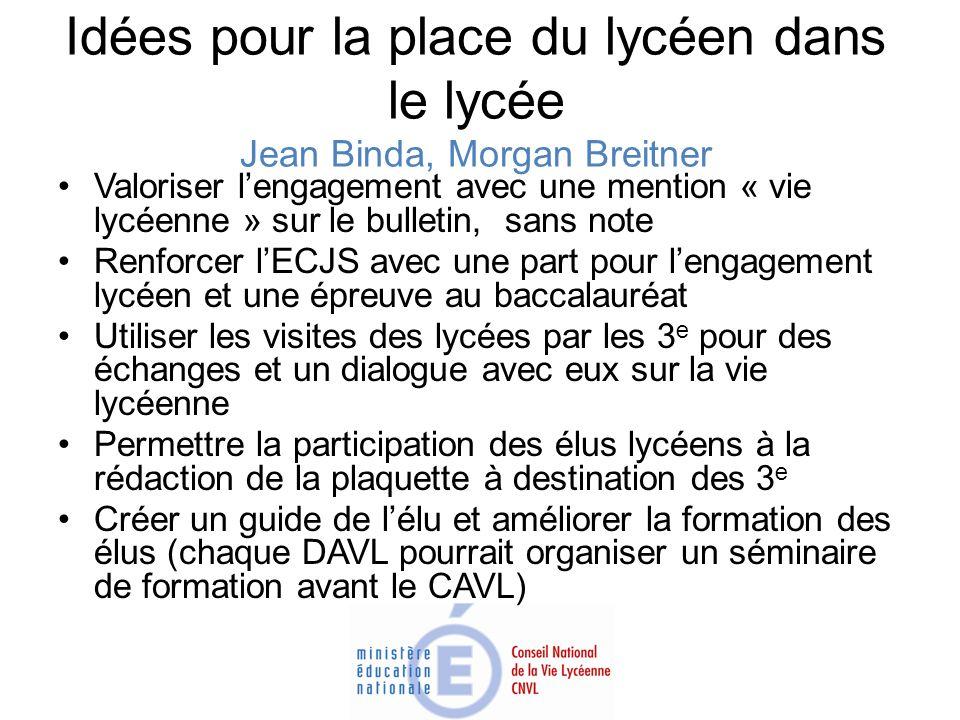 Idées pour la place du lycéen dans le lycée Jean Binda, Morgan Breitner Valoriser lengagement avec une mention « vie lycéenne » sur le bulletin, sans