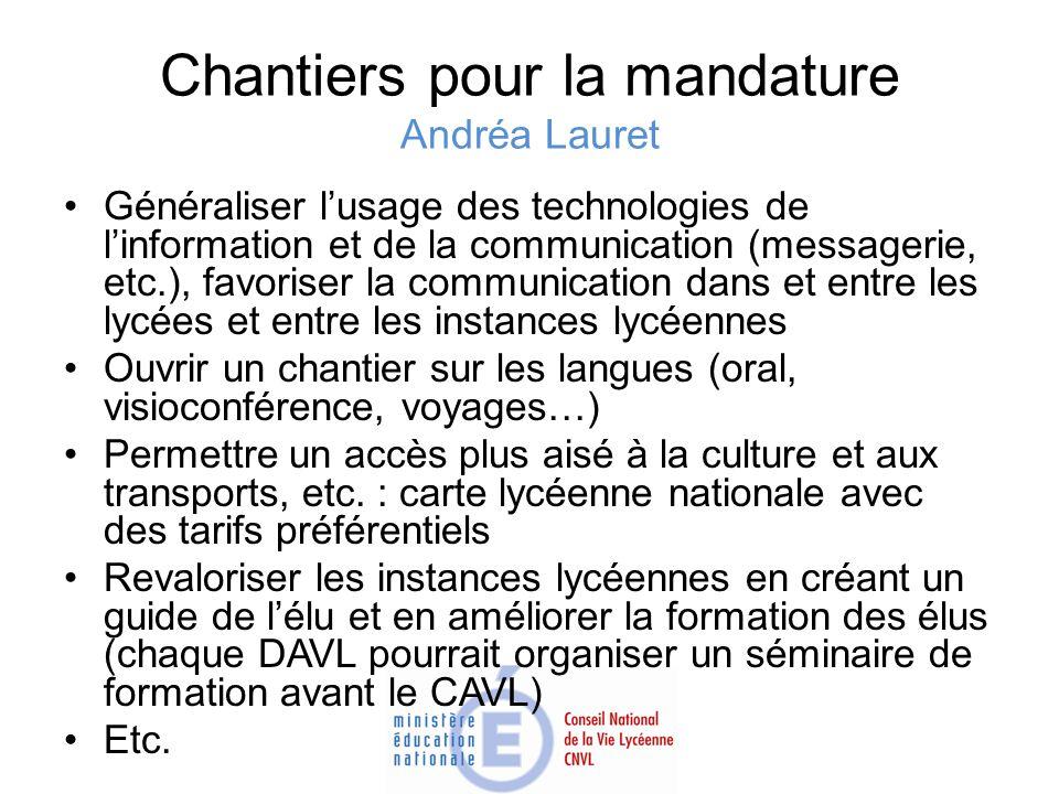 Chantiers pour la mandature Andréa Lauret Généraliser lusage des technologies de linformation et de la communication (messagerie, etc.), favoriser la