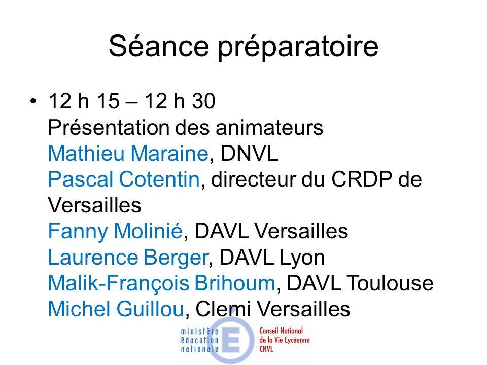 Séance préparatoire 12 h 15 – 12 h 30 Présentation des animateurs Mathieu Maraine, DNVL Pascal Cotentin, directeur du CRDP de Versailles Fanny Molinié