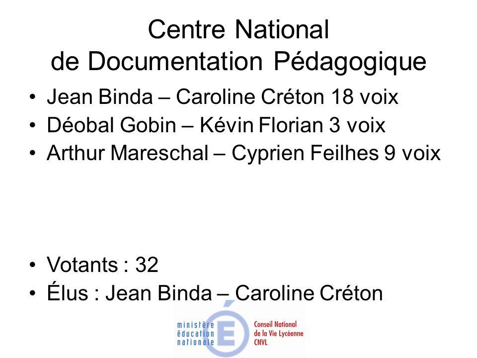 Centre National de Documentation Pédagogique Jean Binda – Caroline Créton 18 voix Déobal Gobin – Kévin Florian 3 voix Arthur Mareschal – Cyprien Feilh