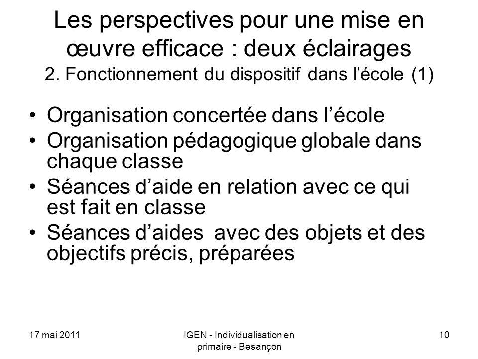 17 mai 2011IGEN - Individualisation en primaire - Besançon 10 Les perspectives pour une mise en œuvre efficace : deux éclairages 2. Fonctionnement du