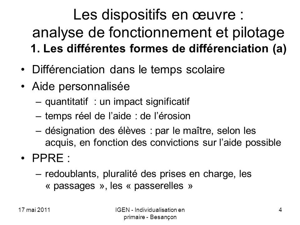 17 mai 2011IGEN - Individualisation en primaire - Besançon 4 Les dispositifs en œuvre : analyse de fonctionnement et pilotage 1. Les différentes forme