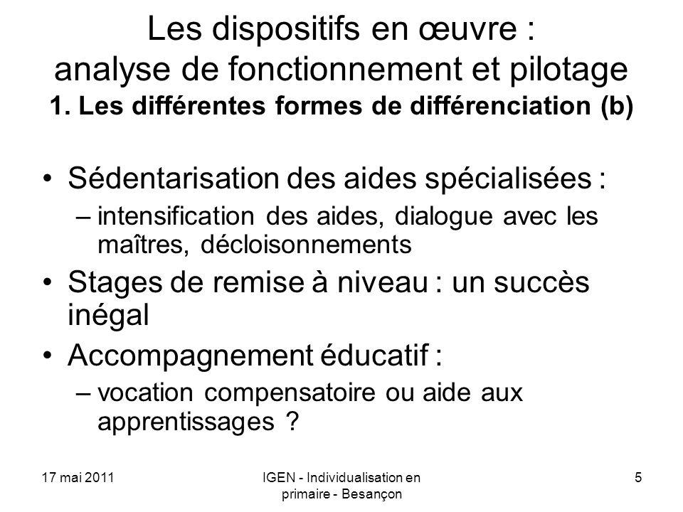 17 mai 2011IGEN - Individualisation en primaire - Besançon 5 Les dispositifs en œuvre : analyse de fonctionnement et pilotage 1. Les différentes forme