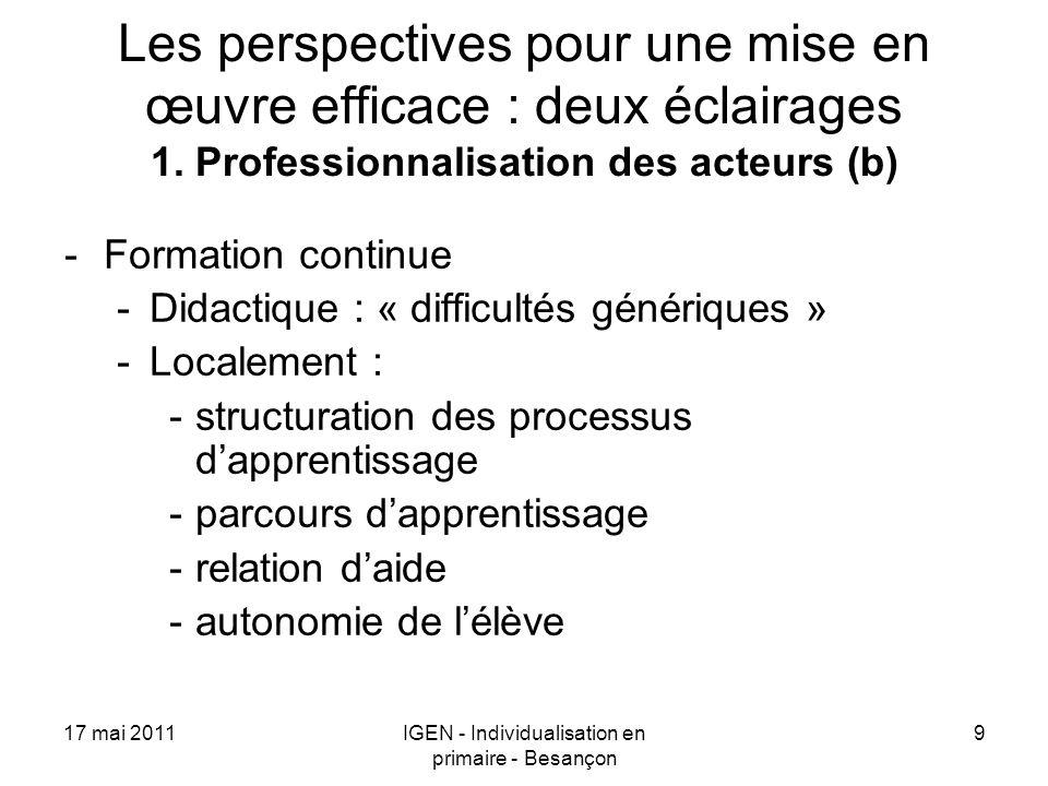 17 mai 2011IGEN - Individualisation en primaire - Besançon 9 Les perspectives pour une mise en œuvre efficace : deux éclairages 1. Professionnalisatio