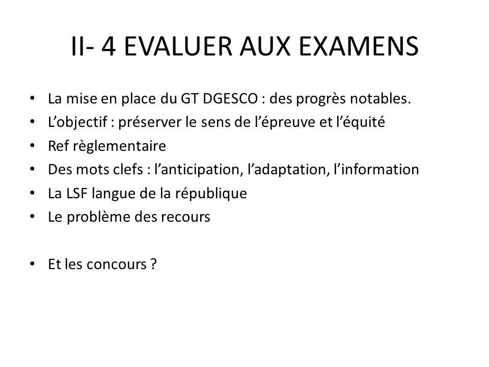 II- 4 EVALUER AUX EXAMENS La mise en place du GT DGESCO : des progrès notables.