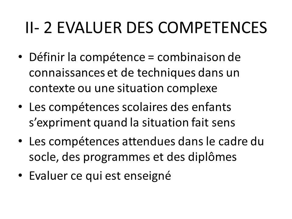 II- 2 EVALUER DES COMPETENCES Définir la compétence = combinaison de connaissances et de techniques dans un contexte ou une situation complexe Les compétences scolaires des enfants sexpriment quand la situation fait sens Les compétences attendues dans le cadre du socle, des programmes et des diplômes Evaluer ce qui est enseigné