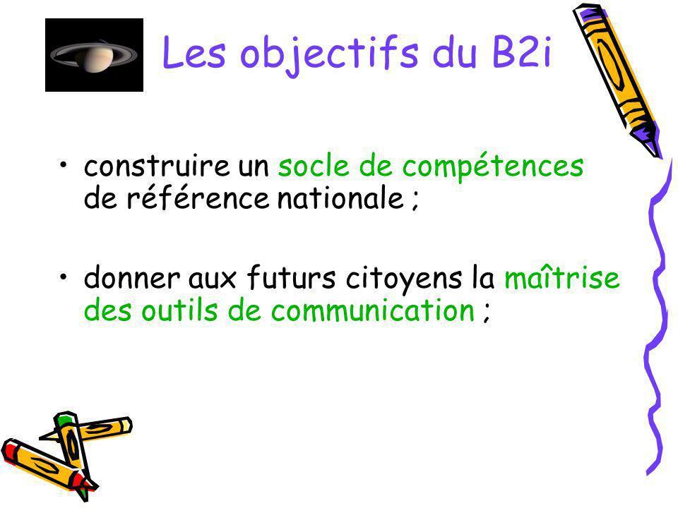 Les objectifs du B2i acquérir les compétences au fil dactivités conduites dans des contextes disciplinaires ; développer le travail interdisciplinaire des enseignants ;