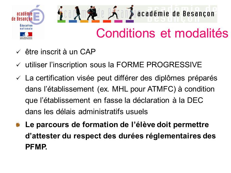 Conditions et modalités être inscrit à un CAP utiliser linscription sous la FORME PROGRESSIVE La certification visée peut différer des diplômes préparés dans létablissement (ex.