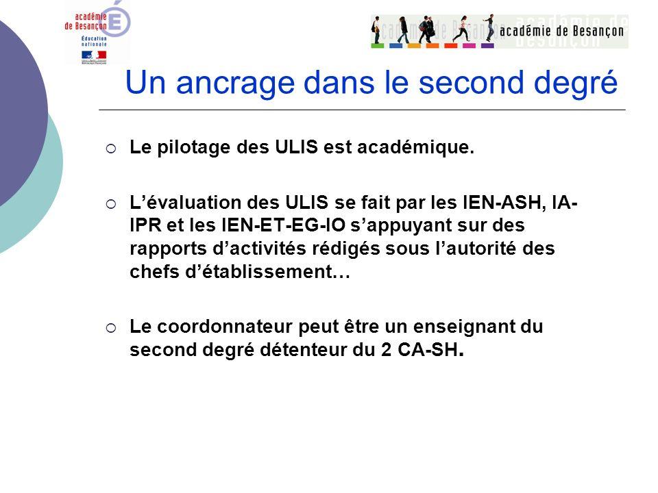 Un ancrage dans le second degré Le pilotage des ULIS est académique. Lévaluation des ULIS se fait par les IEN-ASH, IA- IPR et les IEN-ET-EG-IO sappuya