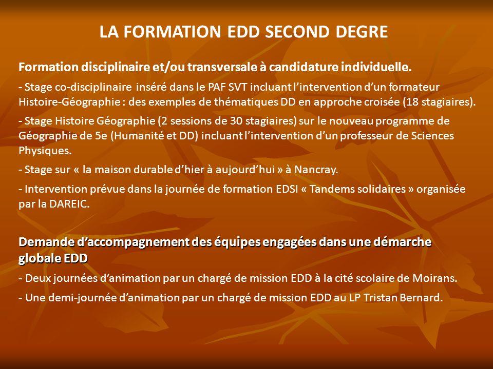 LA FORMATION EDD SECOND DEGRE Formation disciplinaire et/ou transversale à candidature individuelle. - - Stage co-disciplinaire inséré dans le PAF SVT