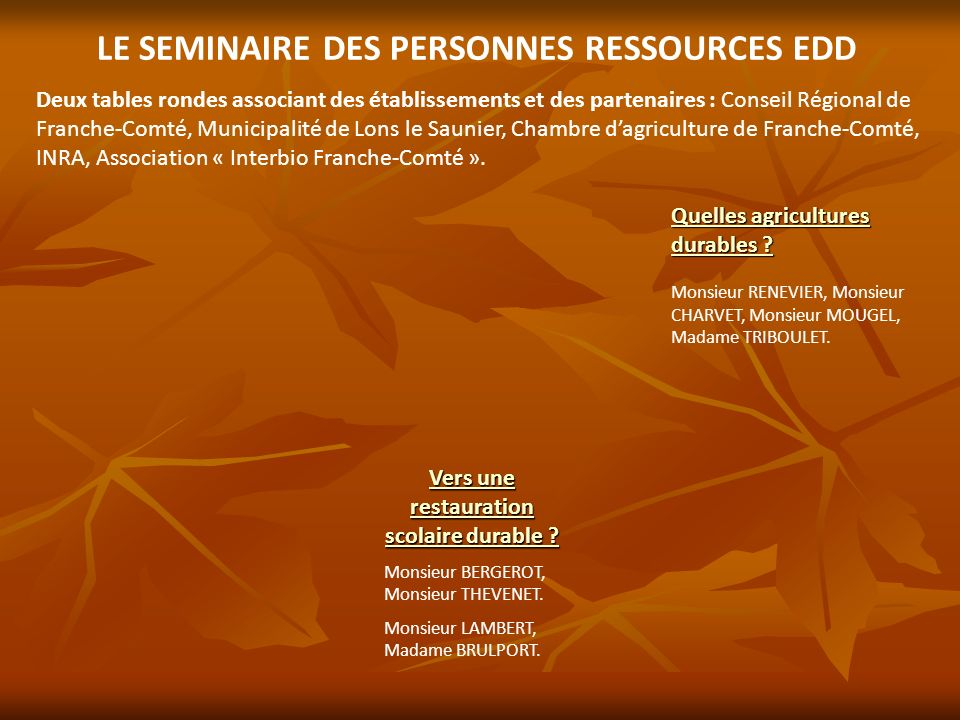 LE SEMINAIRE DES PERSONNES RESSOURCES EDD Deux tables rondes associant des établissements et des partenaires : Conseil Régional de Franche-Comté, Muni