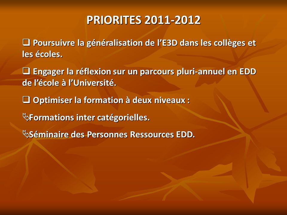 PRIORITES 2011-2012 Poursuivre la généralisation de lE3D dans les collèges et les écoles. Poursuivre la généralisation de lE3D dans les collèges et le