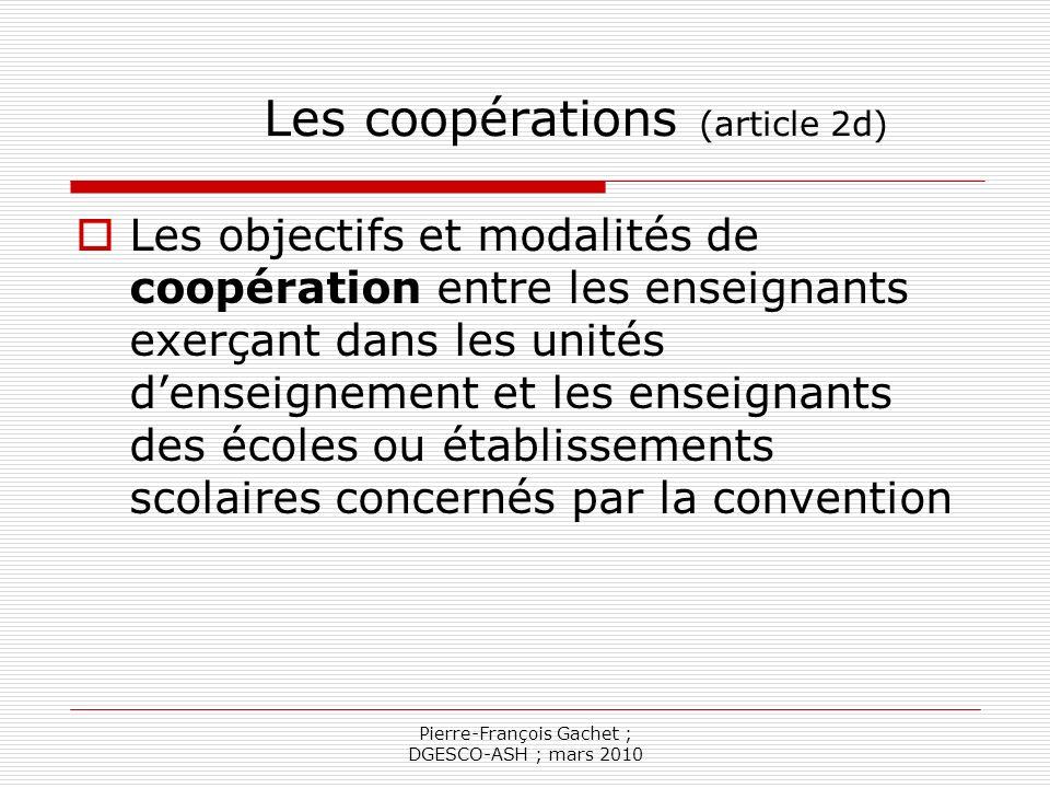 Pierre-François Gachet ; DGESCO-ASH ; mars 2010 Les moyens denseignement (article 2 e) Les moyens denseignement sont fixés par linspecteur d académie, sous la forme d… Une dotation globale en heures denseignement qui tient compte notamment…
