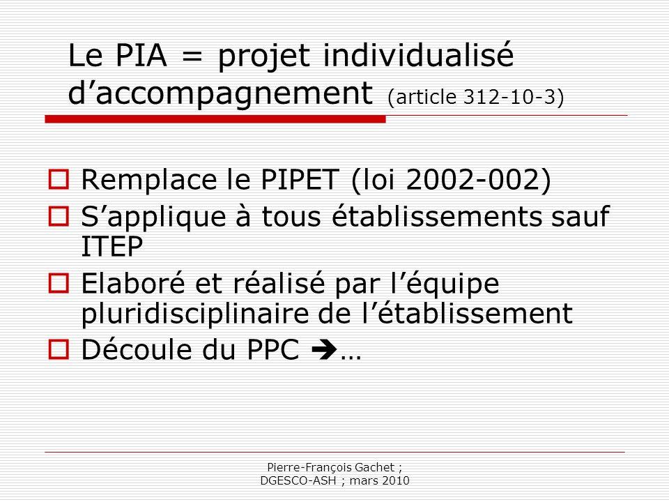 Pierre-François Gachet ; DGESCO-ASH ; mars 2010 Les inclusions ne sont pas sur le même plan PIA Mesures Mise en oeuvre PPC PPS PAI
