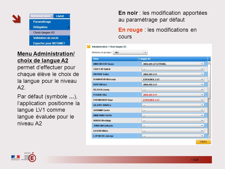 > 8/28 Menu Administration/ choix de langue A2 permet deffectuer pour chaque élève le choix de la langue pour le niveau A2.